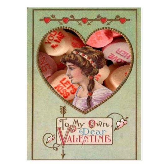 Collage del caramelo de los amores de la mujer del tarjetas postales