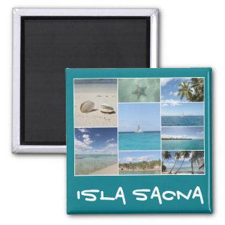 Collage del Caribe escénico de la foto de Isla Imán Cuadrado