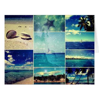 Collage del Caribe estrellado estrellado Tarjeta De Felicitación Grande