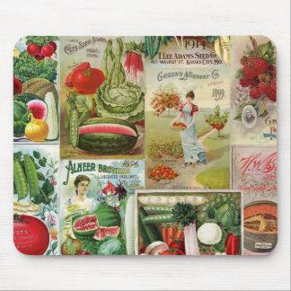 Collage del catálogo de la fruta y de semilla de alfombrillas de ratón