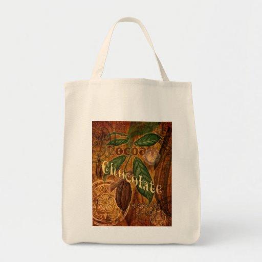 Collage del chocolate bolsa tela para la compra