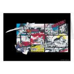 Collage del cómic del superhombre tarjeta de felicitación