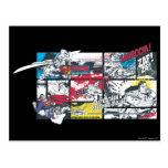 Collage del cómic del superhombre tarjetas postales