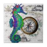 Collage del compás del Seahorse Azulejo Cuadrado Pequeño