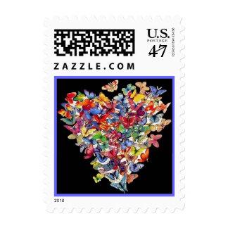 Collage del corazón de la mariposa estampilla