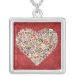 Collage del corazón de la tarjeta de la tarjeta de pendiente