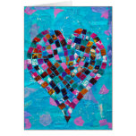Collage del corazón del mosaico tarjeta
