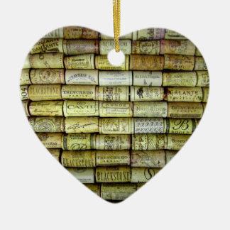 Collage del corcho del vino adorno navideño de cerámica en forma de corazón