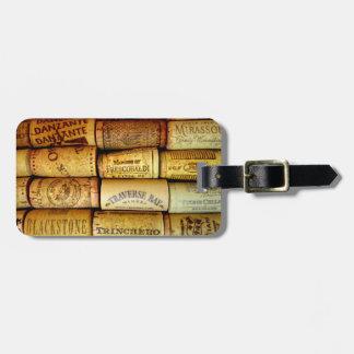 Collage del corcho del vino del viñedo etiquetas para maletas