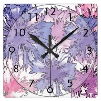 Collage del Cornflower Reloj Cuadrado