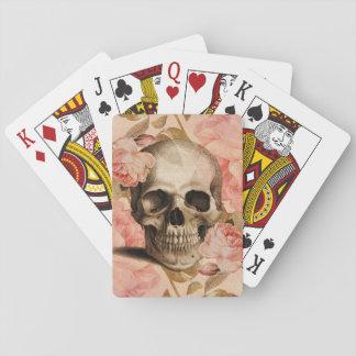 Collage del cráneo de Rosa del vintage Cartas De Juego