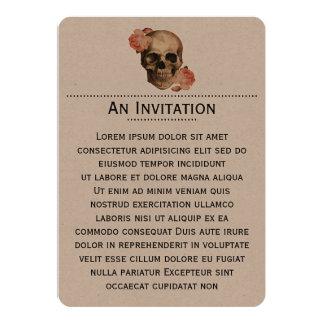 """Collage del cráneo de Rosa del vintage Invitación 5"""" X 7"""""""