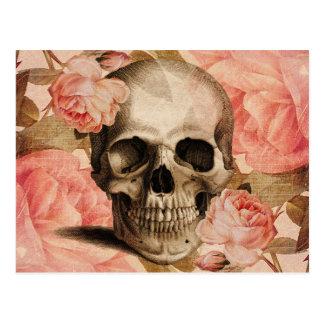 Collage del cráneo de Rosa del vintage Postal
