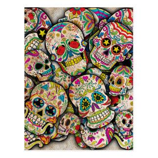 Collage del cráneo del azúcar postales