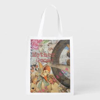 Collage del cuento de hadas de la mamá ganso del bolsa reutilizable
