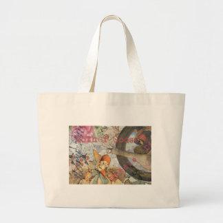 Collage del cuento de hadas de la mamá ganso del bolsa tela grande