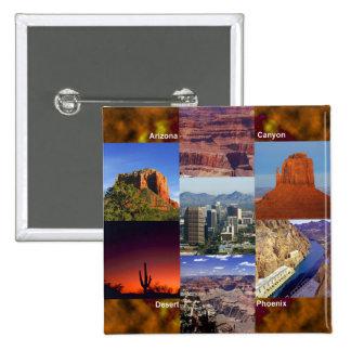 Collage del desierto de Arizona Pin Cuadrado