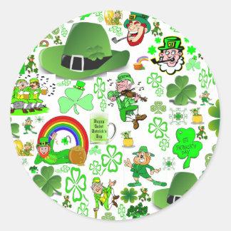 Collage del día de St Patrick Pegatina Redonda