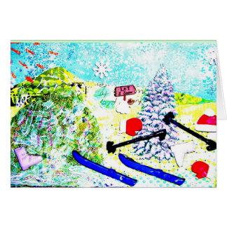 Collage del esquí tarjeta pequeña