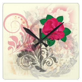 Collage del Flourish del rosa Reloj Cuadrado