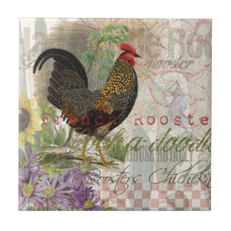 Collage del francés del gallo del vintage azulejo cuadrado pequeño