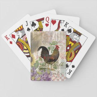 Collage del francés del gallo del vintage baraja de cartas