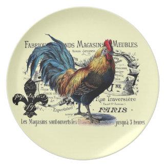 Collage del gallo del vintage platos