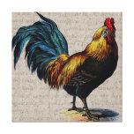 Collage del gallo del vintage y del texto de la an lona estirada galerías