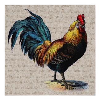 Collage del gallo del vintage y del texto de la comunicado personalizado
