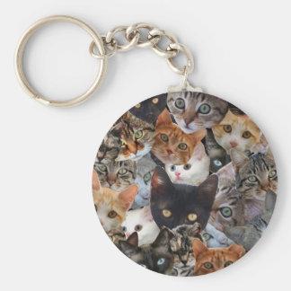 Collage del gatito llavero redondo tipo pin