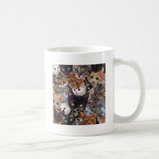Collage del gatito taza básica blanca