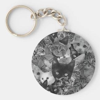 Collage del gato de BW Llavero Redondo Tipo Pin