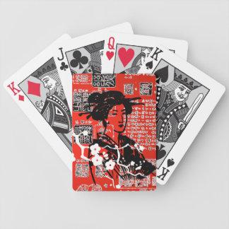 Collage del geisha del vintage baraja