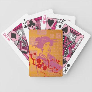 Collage del geisha del vintage cartas de juego