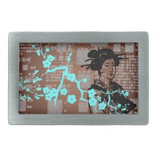 Collage del geisha del vintage hebillas cinturon rectangulares