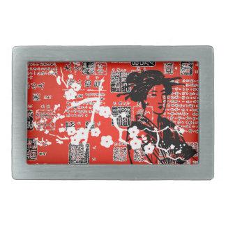 Collage del geisha del vintage hebilla de cinturón