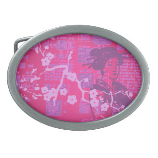 Collage del geisha del vintage hebillas de cinturon ovales