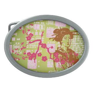 Collage del geisha del vintage hebilla de cinturon
