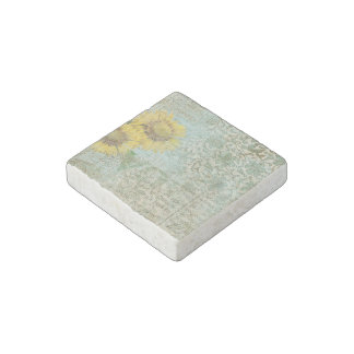 Collage del girasol imán de piedra