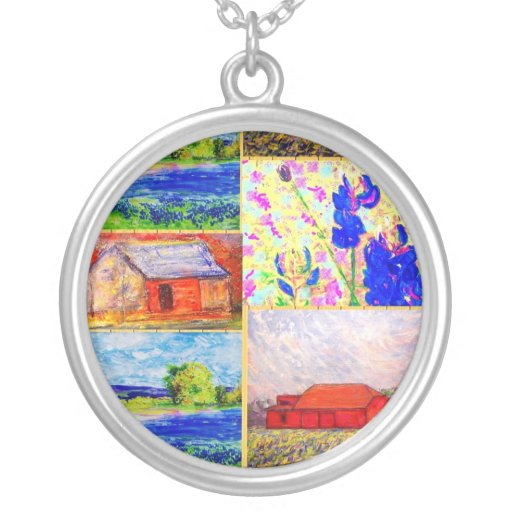 collage del granero y del wildflower joyerias