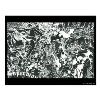 Collage del gris del superhombre tarjeta postal