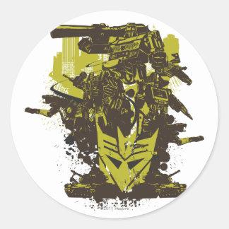 Collage del Grunge de Decepticon Etiqueta Redonda