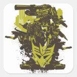 Collage del Grunge de Decepticon Calcomanía Cuadrada