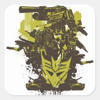 Collage del Grunge de Decepticon Pegatina Cuadrada