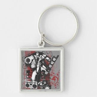 Collage del Grunge de Megatron Llavero Cuadrado Plateado