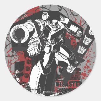 Collage del Grunge de Megatron Pegatina Redonda