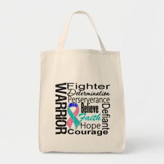Collage del guerrero del cáncer de tiroides bolsas