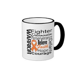 Collage del guerrero del cáncer del riñón naranja tazas de café