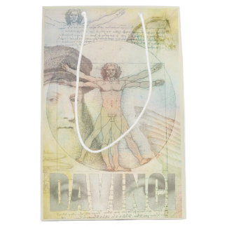 Collage del hombre de Leonardo da Vinci Vitruvian Bolsa De Regalo Mediana