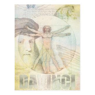 Collage del hombre de Leonardo da Vinci Vitruvian Tarjetas Postales